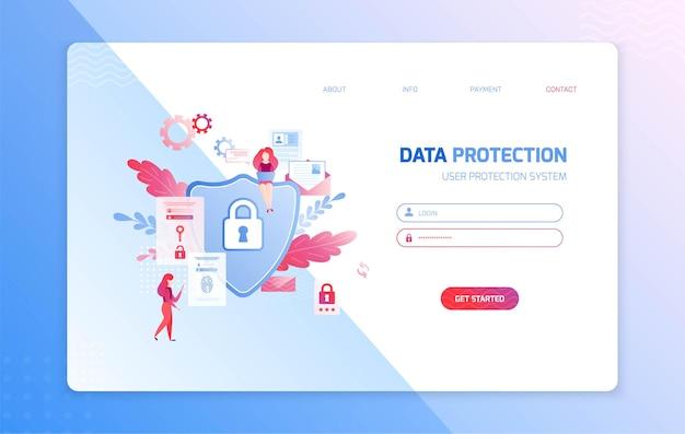 Página de login de proteção de dados