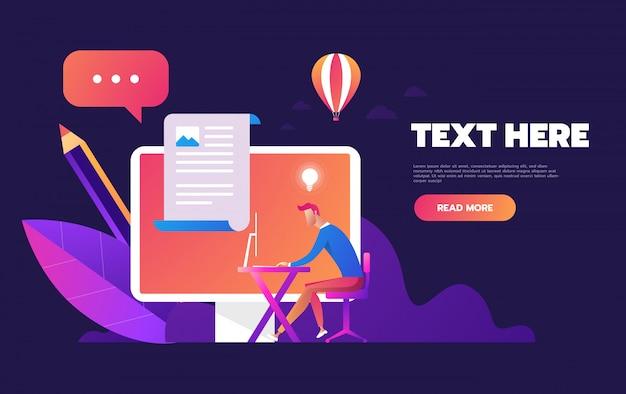 Página de login do conceito na tela do celular, computador desktop com formulário de login para página da web, banner, apresentação, conta de usuário