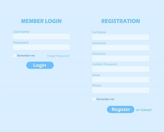 Página de login e registro. formulário de login e registro de membro.