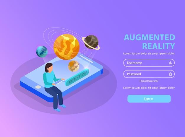 Página de login educativo de realidade aumentada com mulher visualizando o sistema solar usando smartphone