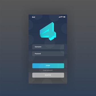 Página de login gratuita de aplicativos de painel de tela móvel