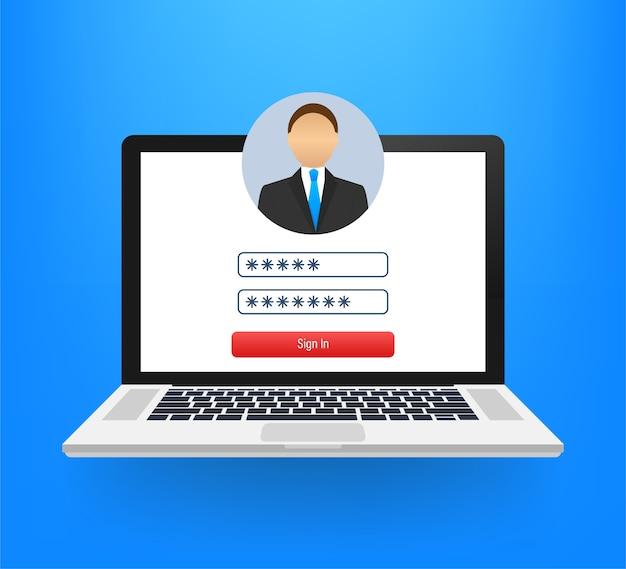Página de login na ilustração da tela do laptop