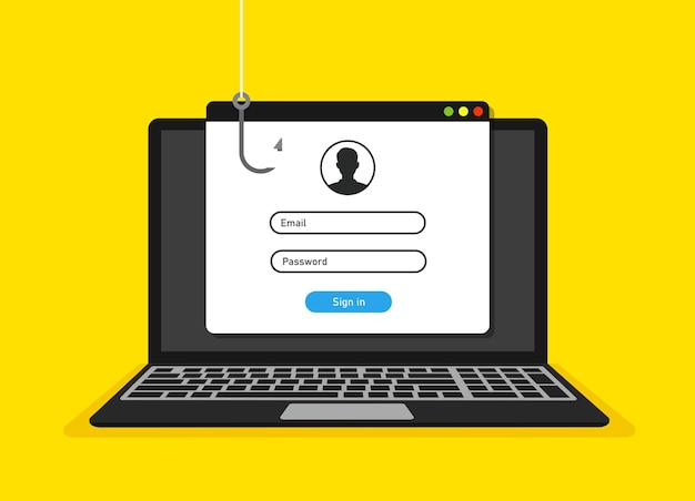 Página de login na tela do laptop e conceito de hack