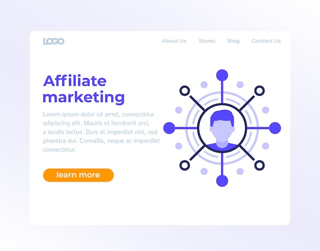 Página de marketing de afiliados, design de banner