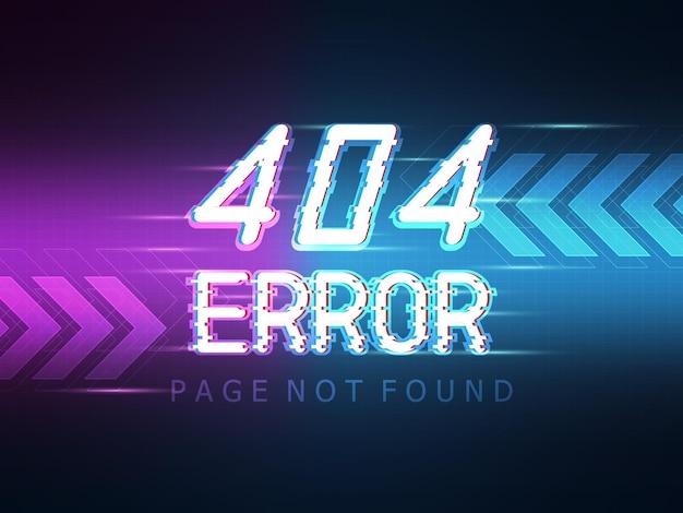 Página de mensagem de erro 404 não encontrada com ilustração de fundo de tecnologia