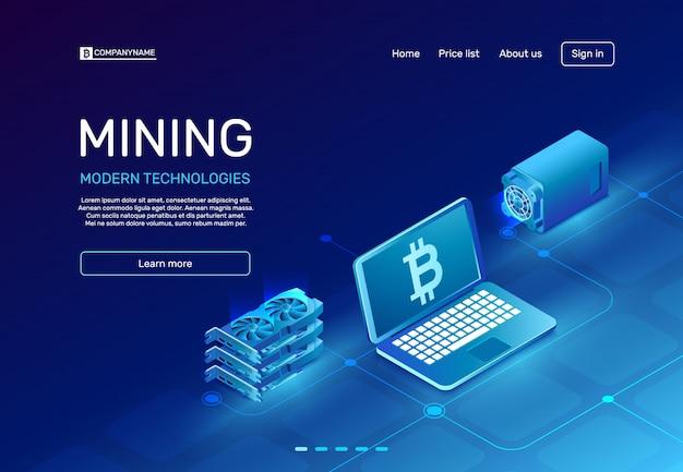 Página de mineração de criptomoeda
