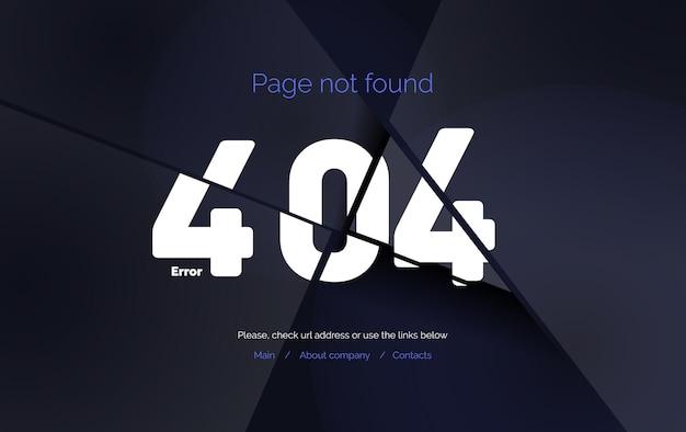 Página de modelo de página da web do erro 404 não encontrada página 404 quebrada em pedaços