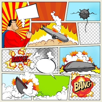 Página de modelo de quadrinhos com navios de guerra. navios de pop art que explodem. Vetor Premium