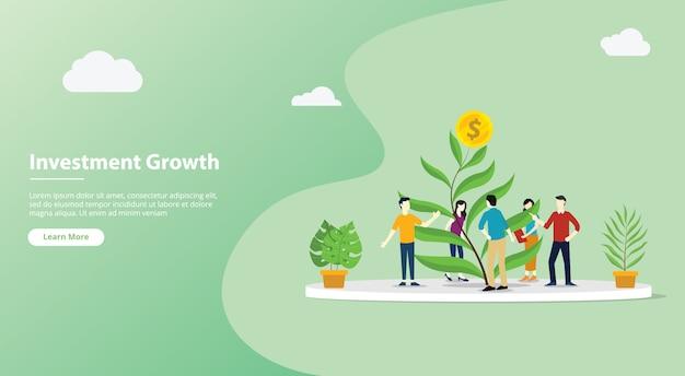 Página de modelo de website de investimento em equipe crescente
