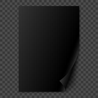 Página de papel realista preto com canto enrolado.