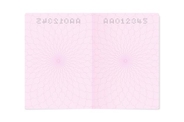 Página de passaporte aberta em branco. folha vazia com número, modelo de documento de identidade de cidadão em close, ilustração isolada de vetor Vetor Premium