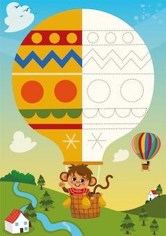 Página de prática de desenho para crianças com balão de ar quente e ilustração vetorial de personagem de macaco