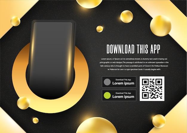 Página de publicidade com banner dourado para download do modelo de aplicativo.