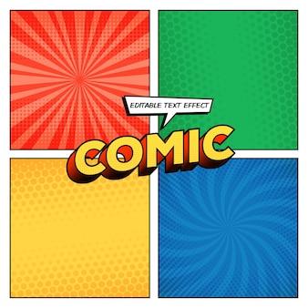 Página de quadrinhos com diferentes fundos de meio-tom e estilo de texto