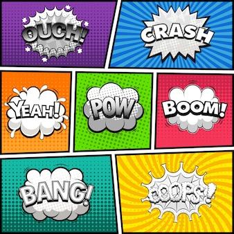 Página de quadrinhos dividida por linhas com balões de fala em preto e branco, efeito de som. fundo retrô. ilustração em quadrinhos
