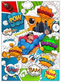 Página de quadrinhos dividida por linhas com balões de fala, foguete, super-herói e efeitos sonoros. ilustração de fundo retrô