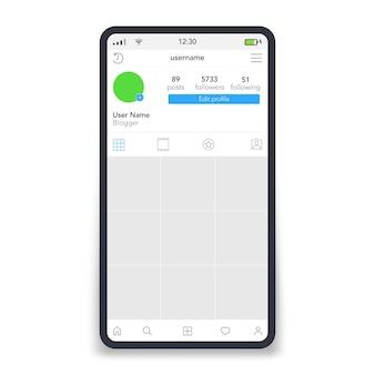 Página de rede social na tela do smartphone inspirada em recursos sociais. ilustração vetorial