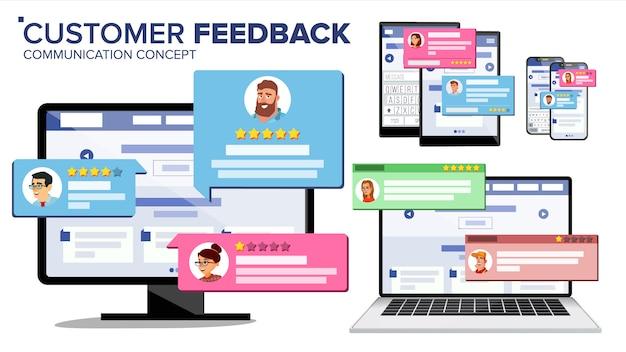 Página de revisão do cliente no monitor do computador, laptop, tablet, celular