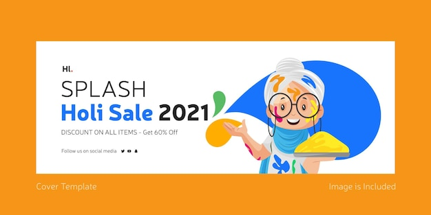 Página de rosto do facebook para design de venda splash holi
