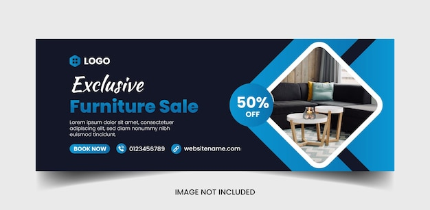 Página de rosto do furniture no facebook e modelo de design de banner da web
