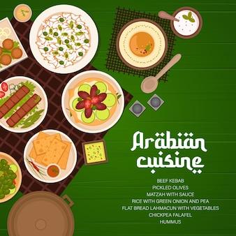 Página de rosto do menu de pratos de restaurantes de cozinha árabe