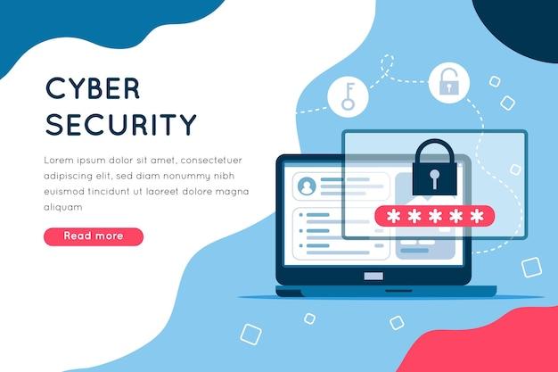 Página de segurança cibernética ilustrada