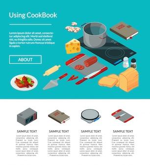Página de site de objetos isométricos de alimentos de cozinha