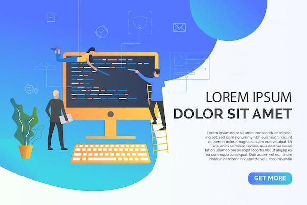 Página de slides com pessoas escrevendo ilustração de código web