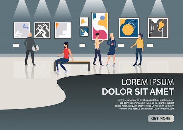 Página de slides com pessoas que visitam a ilustração do museu