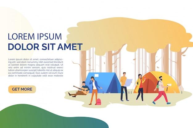 Página de slides com turistas descansando na ilustração de tendas