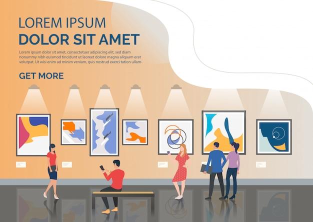 Página de slides com turistas olhando a ilustração de obras de arte