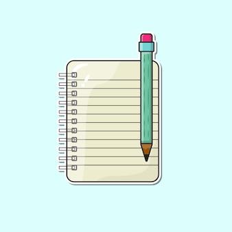 Página de um caderno com uma ilustração vetorial de lápis