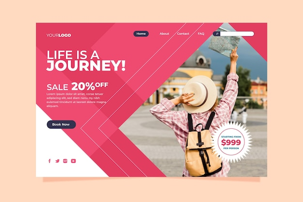 Página de vendas de viagens