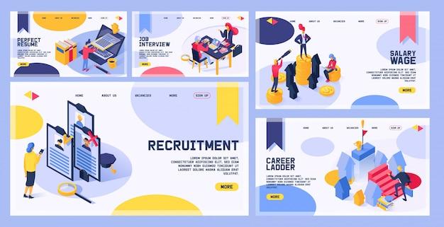 Página de web de vetor de recrutamento, contratação de trabalho entrevistou pessoas na reunião de entrevista de negócios e caráter de homem entrevistador