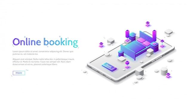 Página de web isométrica de livro de apartamento de hotel on-line