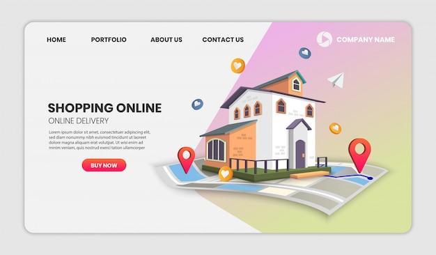 Página do aplicativo de modelos de página de destino de imóveis.