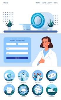 Página do aplicativo de ressonância magnética. pesquisa e diagnóstico médico. scanner tomográfico moderno. interface de aplicativo de clínica de ressonância magnética com ideia de ícone.