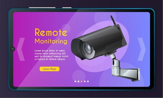 Página do aplicativo móvel, conjunto de telas. conceito de monitoramento de segurança para site