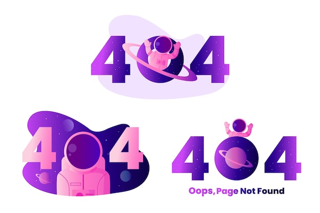Página do astronauta 404 não encontrada ilustração