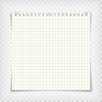 Página do caderno quadriculada em branco com borda rasgada. maquete de papel de carta. elemento de design gráfico para texto, propaganda, matemática, doodle, esboço, scrapbooking. pedaço de papel de damas. ilustração vetorial realista