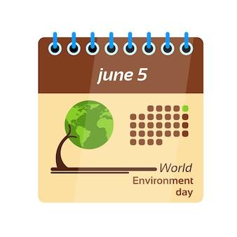 Página do calendário dia mundial do meio ambiente