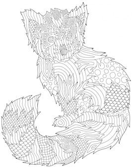 Página do livro de coloração com o panda vermelho bonito no fundo branco