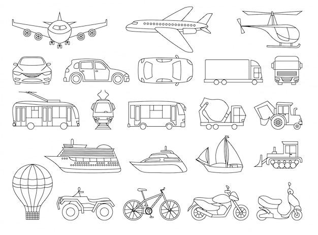 Página do livro de colorir de conjunto de transporte de brinquedo
