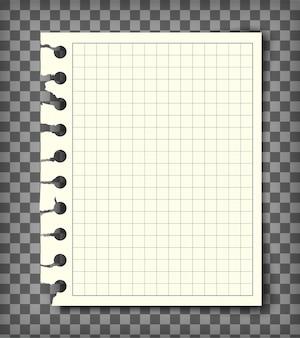 Página do livro de nota quadriculada vazia com borda rasgada