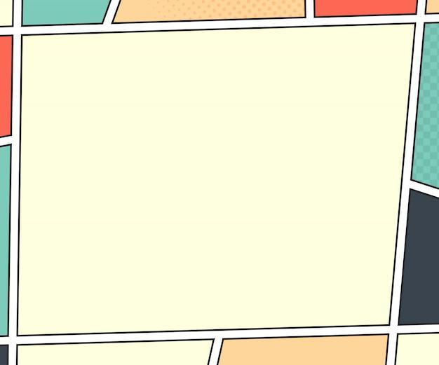 Página do livro de quadrinhos. maquete de vetor no estilo pop art. ilustração colorida
