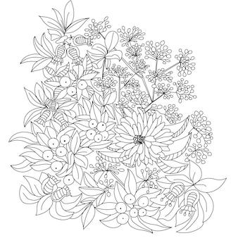 Página do livro para colorir com flores da floresta, folhas e frutos