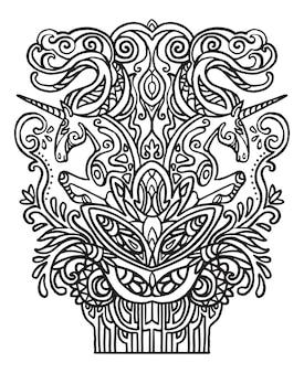 Página do livro para colorir de adulto anti-stress de dois cavalos com elementos vegetais. ilustração vetorial.