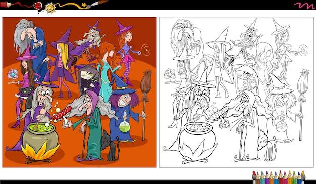 Página do livro para colorir de desenhos animados de bruxas ou personagens de halloween