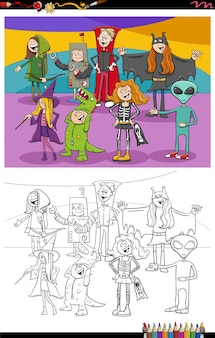 Página do livro para colorir do grupo de personagens de desenhos animados de halloween