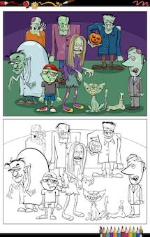 Página do livro para colorir do grupo dos personagens zumbis dos desenhos animados